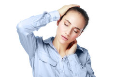 Neck and head pain. Sick young woman. neck and head pain Royalty Free Stock Photo