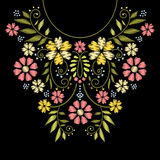 Neck line embroidery. Vector illustration. Neck line embroidery. Vector neck embroidery design. Ornament with flower pattern for neckline illustration Stock Image
