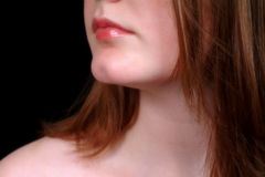 Neck & Lips (Colour). Profile of female's neck & lips in colour Royalty Free Stock Photos