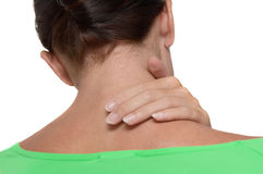 Neck pain. Woman with injury in pain Royalty Free Stock Photo