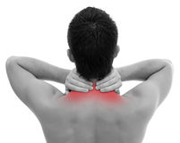 Neck pain. Man with neck pain over white backgound Stock Image