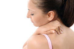 Neck pain. Woman with neck pain, stiffness or sports injury. isolated on white backgrounds stock image