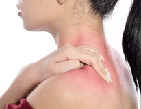 Neck pain. Woman with neck pain, stiffness or sports injury. isolated on white backgrounds stock images