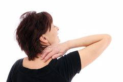 Neck pain. Senior woman with neck pain Stock Images