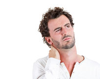 Neck pain, annoyed Stock Photography
