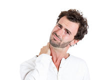 Neck pain, annoyed Stock Photos