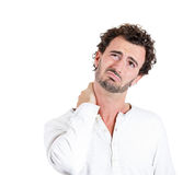 Neck pain, annoyed Stock Photo
