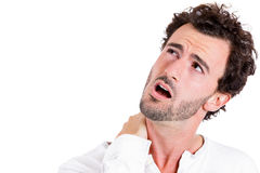 Neck pain, annoyed Royalty Free Stock Photography