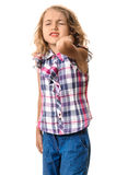 Neck pain little girl Stock Photography
