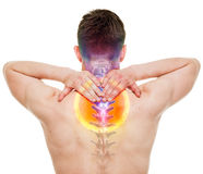 NECK Pain - Male Hurt Cervical Spine isolated on white - REAL An Royalty Free Stock Photography