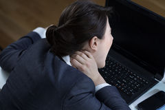 Neck pain at office Royalty Free Stock Photos