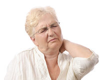 Neck pain old woman Stock Image