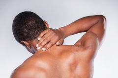 Neck pain. royalty free stock images