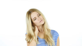 Neck pain ,Woman Suffering from Pain In Neck , White Background royalty free stock photos