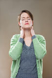 Neck pains. Royalty Free Stock Images