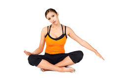 Neck Stretching Pain Relief Exercise. Fit woman doing neck stretching exercise good as a pain and stress relief isolated on white background stock photo