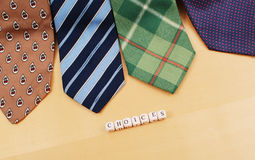 Neck Tie Choices For Work. Four Different Ties To Pick From For Work Stock Image