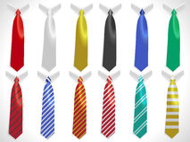 Neck ties collection, plain silk ties collar template, business ties set Royalty Free Stock Photos