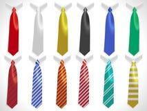 Neck ties collection, plain silk ties collar template, business ties set Royalty Free Stock Photos