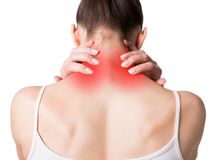Neck, trapezoid and shoulders pain. Muscle spasm. Female back in light top. Woman put her fingers on sore spots, red. Markers, isolated on white. Pain, injury royalty free stock images