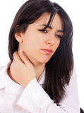 Woman with Neckache Stock Photo