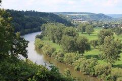 Neckar dal, Tyskland Arkivbild