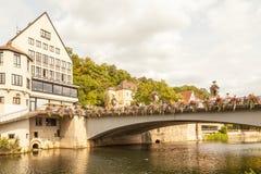 Neckar River, bridge and city. Tubingen, Baden-Wurttemberg, Germany royalty free stock photo