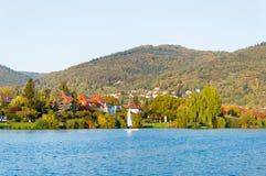 Neckar River i Heidelberg Arkivbilder