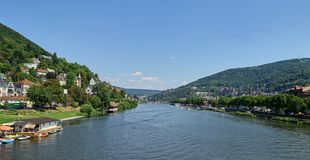 Neckar River Landscape - Wide Angle - Elevated View - Heidelberg stock image