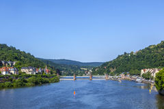 Neckar river panorama in heidelberg Stock Photos