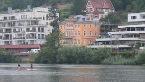 Neckar rzeka Heidelberg i miasto, Ziemski Baden-WÃ ¼ rttemberg, Niemcy zbiory