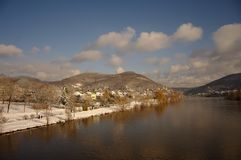 Neckar at winter, river in Heidelberg, Germany Royalty Free Stock Image