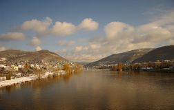 Neckar at winter, river in Heidelberg, Germany. Neckar at winter, river in Heidelberg near the castle, Germany Royalty Free Stock Photos