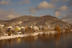 Neckar at winter, river in Heidelberg, Germany Stock Images
