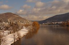 Neckar at winter, river in Heidelberg, Germany Stock Photo