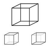 Necker cube optical illusion Royalty Free Stock Photos