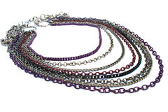 Necklace. With colorful chains isolated on white background Stock Photo