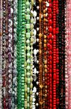 Necklace. A lot of necklaces in decorative colors royalty free stock photo