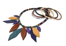 Necklace. And bracelets wood colors Stock Photo