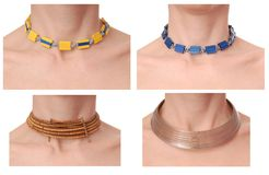 Necklace, adornment, beads on neck, collage Stock Photography