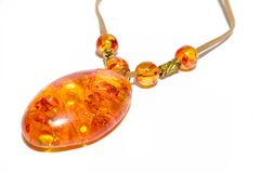 Necklace Amber On Isolated Background Stock Photos