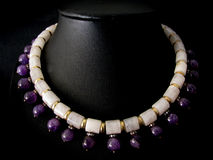 Necklace of Amethyst and Milky Quartz Royalty Free Stock Image