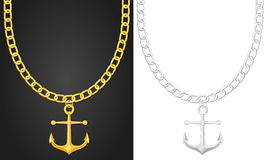 Necklace with anchor Stock Photos