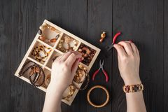 Free Necklace Beads Box For Homemade Jewellery Stock Photo - 146654160