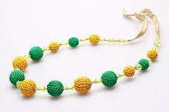 Necklace of beads knitted Royalty Free Stock Photography