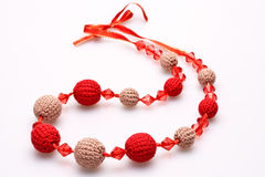 Necklace of beads knitted Royalty Free Stock Photos