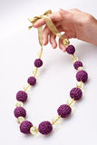 Necklace of beads knitted Royalty Free Stock Image