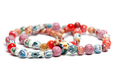 A necklace with beads in various colors. And patterns Stock Photography