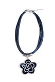 Necklace. black flower Royalty Free Stock Photo