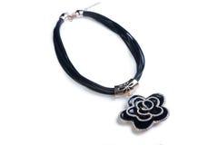Necklace. black flower Stock Images